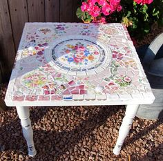 Mosaic Small Shabby Side Table With Vintage China