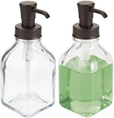 mDesign Square Glass Refillable Liquid Soap Dispenser Pump Bottle for Bathroom Vanity Countertop, Kitchen Sink - Holds Hand Soap, Dish Soap, Hand Sanitizer, Essential Oils - 2 Pack - Clear/Soft Brass