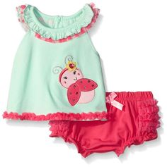 Amazon.com: Nannette Baby Girls' Applique Top with Ruffled Diaper Cover Set…