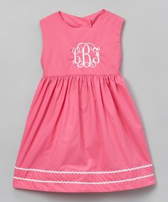 Look at this Bright Pink Monogram Dress - Infant, Toddler & Kids on #zulily today!