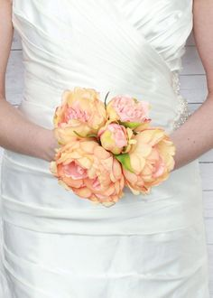Lovely silk flower peony bouquet in a gorgeous mix of coral and peach. Just add some filler flowers and greenery to this bouquet and wrap with ribbon to create an instant wedding bouquet to match your