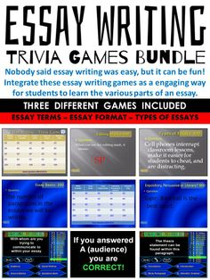 Integrate these essay writing games as a engaging way for students to learn the various parts of an essay.