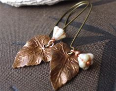 GOING HOME SALE Brass Leaf Earrings - pinned by pin4etsy.com