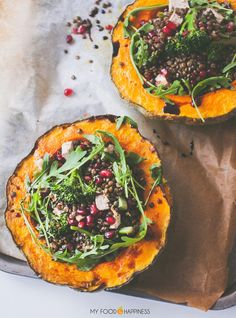 Impress your guests with these delicious Lentil Pumpkin bowls! Gluten-free and vegan main meal, ideal for your Christmas Eve or Thanksgiving dinner. This recipe can be vegan or vegetarian.