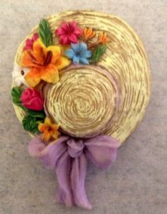 Vintage Ceramic Floppy Hat Brooch  Vintage by SmilingSamCollection