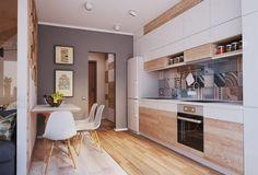 Moderne Küchen bilder-taupe-wandfarbe-weiss-holz-schrankfronten-gemusterte-fliesen-fliesenspiegel