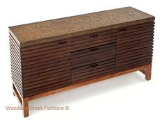 Industrial Chic Sideboard with Metal Top by Woodland Creek Furniture. Available in custom sizes, layouts and finishes.