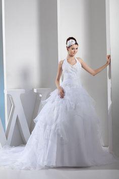 Robe de mariée naturel avec sans manches en organza longueur au ras du sol vie