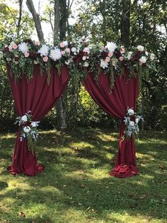 27 Rustic Wedding Decorations You Must Have A Look---burgundy arch drapery for outdoor wedding ceremony in the forest or garden , fall weddings, vintage wedding theme Wedding Stage, Fall Wedding, Rustic Wedding, Wedding Ceremony, Wedding Arches, Quince Decorations, Wedding Decorations, Wedding Backdrops, Stage Decorations