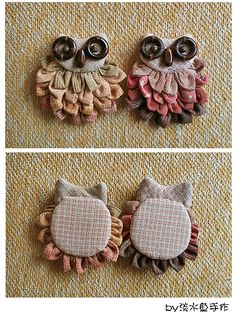 Owl Crafts, Diy Arts And Crafts, Cute Crafts, Owl Quilts, Applique Quilts, Fabric Birds, Fabric Flowers, Sewing Art, Sewing Crafts