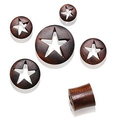Sono Wood Plug with Star Carving - 1 Piece Plugs Earrings, Gauges Plugs, Organic Plugs, Star Cut Out, Wood Plugs, Purple Roses, Black Roses, Rose Flowers, Tunnels And Plugs