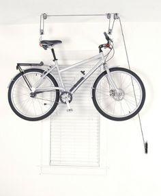 Delta El Greco Ceiling Hoist Storage Rack Item # bicycle bike storage solution for our and foyer Garage Organization, Garage Storage, Storage Rack, Storage Spaces, Organization Ideas, Kayak Storage, Bike Storage Garage Ceiling, Organized Garage, Ceiling Storage
