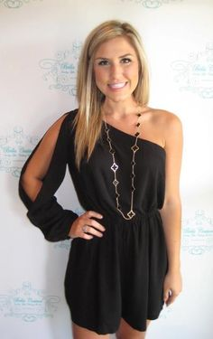 black one shoulder romper...i suddenly wish i could pull off a romper