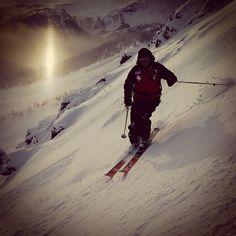 "Beautiful sun dog while ski cutting ""Upper Kiddies Corner""."