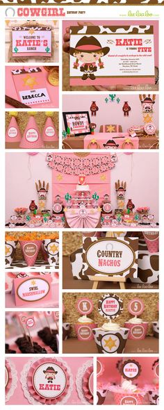 Cowgirl Birthday Party Package Collection Set Mega by LeeLaaLoo