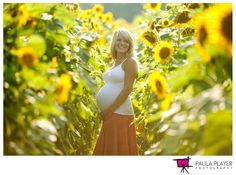 This is such a gorgeous spot for maternity photos...so pretty! She is glowing. Maternity photography | sunflower field | pregnancy | baby bump