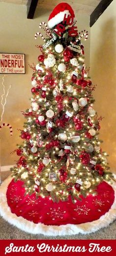 Santa Christmas Tree, Red and white never looks so good unless Santa is involved. Christmas decorations for the home