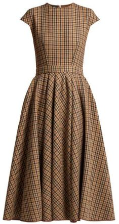 Checked wool blend dress by Rochas Day Dresses, Casual Dresses, Fashion Dresses, Summer Dresses, Rajputi Dress, Creation Couture, Royal Clothing, Vogue Fashion, Brown Dress