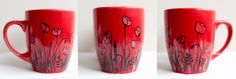Red mug with poppies; hand-painted mug / Kristi Palm Art
