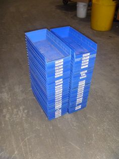 Beginning at $5.00:    Lot of 50 ea. Akro-Mills nestable storage bins model #30-158 as shown. 8-1/4W x 17-1/2L x 4H