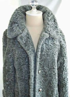 NOS Deadstock Vintage 50s Faux Gray Persian Lamb Swing Coat A Line Item House by backtocapri on Etsy https://www.etsy.com/listing/172850543/nos-deadstock-vintage-50s-faux-gray