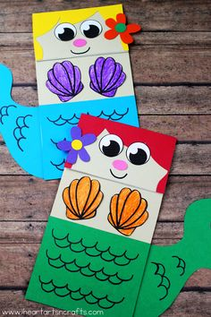 Paper bag mermaid craft for kids kagit isleri поделки, куклы Zoo Crafts, Puppet Crafts, Craft Projects For Kids, Paper Crafts For Kids, Preschool Crafts, Diy For Kids, Arts And Crafts, Craft Ideas, Easy Crafts