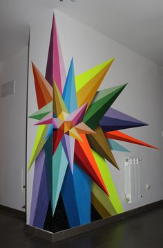 Chaos Star, by Okudart (a.a Oscar San Miguel Erice) - Chaos Star, by Okudart (a.a Oscar San Miguel Erice) Chaos Star, by Okudart (a.a Oscar San Miguel Erice) Mural Art, Wall Murals, Wall Art, Wall Décor, Diy Wall, Inspiration Wand, School Murals, Art School, Interior Wallpaper