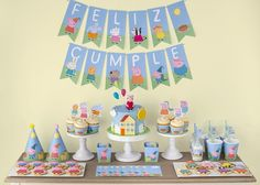 Peppa Pig is one of my very favorite characters. I love Peppa and George and so a little puddle jumping party just sounds like a great time. Let's jump in and find some fun party decor and ev… Bolo George Pig, Peppa Pig Y George, George Pig Party, Fiestas Peppa Pig, Cumple Peppa Pig, 3rd Birthday Parties, 2nd Birthday, Peppa Pig Birthday Cake, Peppa Pig Birthday Decorations