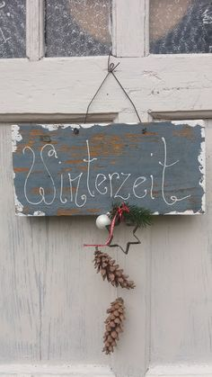 """Christmas decoration - sign """"Winter time"""" - a unique product by at DaWand . Christmas decoration – sign """"Winter time"""" – a unique product by on DaWanda Vintage Christmas Crafts, Christmas Decorations, Christmas Time, Xmas, Holiday, Winter Wonder, Wooden Diy, Christmas Inspiration, Diy And Crafts"""