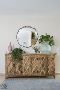 espejo para bano chico Entryway Tables, Buffet, Wreaths, House Styles, Furniture, Home Decor, Mirrors For Bathrooms, Laundry Rooms, Recycled Furniture