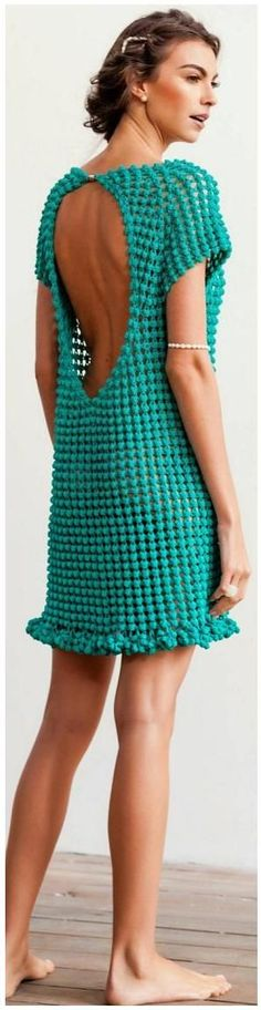 Helen Rödel - pop corn crochet dress @roressclothes closet ideas #women fashion outfit #clothing style apparel backless