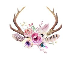Items similar to Hippie sticker // bohemian sticker // antlers // floral crown // watercolour art // planner sticker // die-cut sticker // boho sticker on Etsy Deer Skulls, Cow Skull, Bull Skulls, Floral Crown, Boho Hippie, Antlers, Floral Watercolor, Design Elements, Body Art