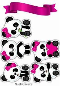 Panda Girl with Pink Bow: Free Printable Cake Toppers. Panda Girl with Pink Bow: Toppers de pastel imprimibles gratis. Panda Themed Party, Panda Birthday Party, Panda Party, Bear Party, Bolo Panda, Panda Decorations, Panda Cakes, Pink Panda, Cute Panda