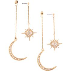 Rhinestone Moon Sun Earrings ($3.76) ❤ liked on Polyvore featuring jewelry, earrings, rosegal, rhinestone jewelry, rhinestone earrings, rhinestone stud earrings and earring jewelry
