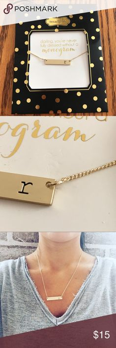 "NWT Mud Pie ""r"" monogram matte gold bar necklace New Mud Pie Chelsea engraved ""r"" monogram matte gold bar on gold chain necklace. 16"" long. Mud Pie Jewelry Necklaces"