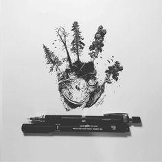 Amazing!  / art by @pentasticarts  #pen #drawing #handprint