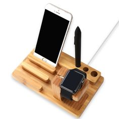 Amazon.com: Wood Charging Station Wooden Dock 3 in 1 Bamboo Stand Desk Holder with iPhone iwatch & iPad: Cell Phones & Accessories