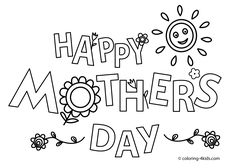 Happy Mother's day coloring pages for kids, printable free