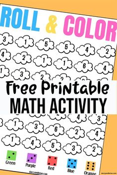 No prep printable cloud roll and color dice game for preschool and kindergarten. Easy math activity to work on subitizing, number recognition, and colors. Number Games Preschool, Easy Math Games, Printable Math Games, Free Math Games, Numbers Kindergarten, Kindergarten Math Activities, Math Worksheets, Preschool Learning Games, Math Activities For Preschoolers