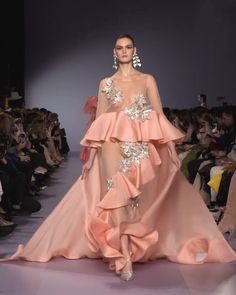 Georges Hobeika Look Spring Summer 2020 Haute Couture Collection. - Coral Embellished (transparent) Evening Maxi Dress / Evening Gown with a Train. Haute Couture Gowns, Couture Fashion, Runway Fashion, Designer Evening Gowns, Designer Dresses, Evening Dresses, Victor Ramos, Dress Neck Designs, Embroidery Fashion
