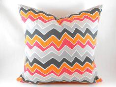 Chevron ZigZag Pillow Cover Pink Orange Grey  22 by MyPillowStudio, $30.00