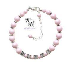 Baby Bracelet, SALE 40% OFF, Baby Shower Gifts for a Girl, Personalized Baby Bracelet, Pastel Bracelet, Little Girl Bracelet | KyKy's Bridal, Handmade Bridal Jewelry, Wedding Jewelry