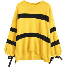 Striped Tie Cuffs Dip Hem Sweater Yellow ($26) ❤ liked on Polyvore featuring tops, sweaters, yellow sweater, stripe top, stripe sweaters, yellow striped top and tie sweater