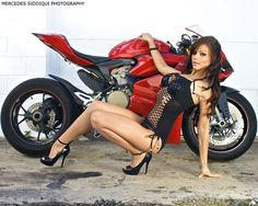 Mercedes Siddiqui Photography 2013  Model: Jess Still one of my favourite photos Ive ever   Ducati Panigale 1199, Biker Girl, Fishnets, Bikini, Heels, Red, Motorcycle, Garage, Pose, Bike, Super Bike, Color, Red Rims