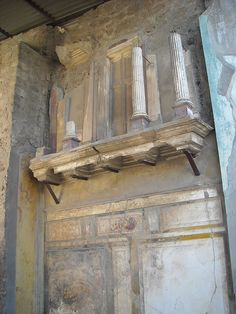 "The House of the Faun in Pompeii: ""Lararium"" (polychrome succo) Ancient Egyptian Art, Ancient Ruins, In Ancient Times, Ancient Artifacts, Ancient Rome, Ancient Greece, Pompeii Ruins, Pompeii Italy, Pompeii And Herculaneum"