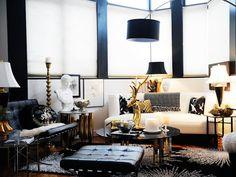 black, white, gold decor