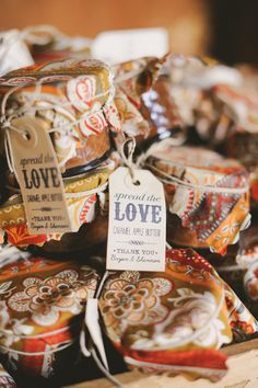 """Spread the Love"" favors // photo by June Bug Co. // http://ruffledblog.com/autumnal-texas-wedding"