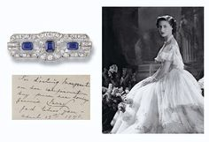 JEWELLERY AND FABERGE, FROM THE COLLECTION OF H.R.H THE PRINCESS MARGARET, COUNTESS OF SNOWDON: AN ART DECO SAPPHIRE AND DIAMOND BROOCH. The openwork geometric plaque set with three rectangular sapphires to the single and old-cut diamond border, millegrain setting, circa 1925, in fitted blue leather Collingwood (Jewellers) case. Accompanied by a note in the hand of HM Queen Mary, 'For darling Margaret on her confirmation day from her loving Grannie Mary R God bless you. April 15th 1946.'