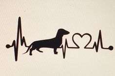 Dachshund Love Heartbeat Die Cut Vinyl Decal by DaizysDezigns