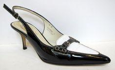 COACH 'Adrian' Black White Patent Leather Slingback Pump Size 8B #Coach #Slingbacks